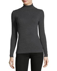 Ribbed Turtleneck Sweater w/Braided Trim