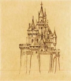 Drawings blueprints of Sleeping Beauty's Castle