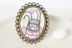 Brass Adjustable Ring  Hand Painted Illustration by MillyMilkVille, $7.20