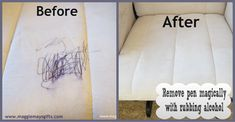 Cheap, easy, and magical! Remove ink pen from furniture with a cotton ball and rubbing alcohol.