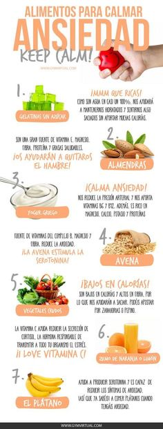 ALIMENTOS PARA CALMAR LA ANSIEDAD Anxiety shines when one is very nervous about something that torments him, produces dizziness, choking and headache, excessive hunger, or a knot in the stomach to those who are closed. Weight Loss Meals, Healthy Tips, Healthy Snacks, Healthy Recipes, Diet Recipes, Gelatina Light, Natural Medicine, Nutrition Education, Nutrition Classes