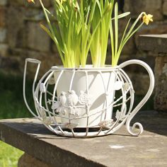 This stylish teapot planter is made from wrought iron which has been coated in a soft cream shade complete with a brushed distressed finish. The wire frame teapot has a decorative bird and leaf detailing making this planter ideal for both indoors and out in the garden. This plant pot makes a great addition to the home when filled with your favourite flowers to help add a vintage shabby chic style to your home.