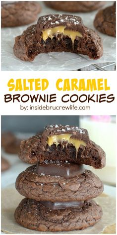 Chewy brownie cookies topped with a salted caramel chocolate candy bar. These are so good!