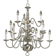 Progress Lighting Americana Collection 15-Light Brushed Nickel Chandelier