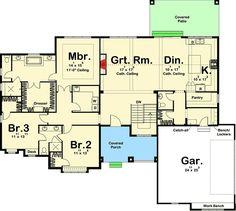 3 Bed Craftsman Ranch House Plan - 62646DJ floor plan - Main Level