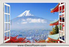 3D Otono Japon Ciudad window wall sticker art decal IDCCH-LS-000479