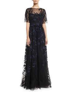 Rickie Freeman for Teri Jon Lace & Velvet Floral A-line Gown Tulle Dress, Dress Up, Fancy Dress, Prom Dress, Elegant Dresses, Pretty Dresses, Velvet Gown, Mother Of Groom Dresses, Latest Fashion Dresses