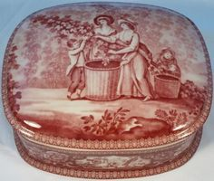 Pastoral Ceramic Transferware Red & White Trinket Box