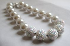 Chunky Bead Necklace in all White - Pearls and Rhinestone Beads - Elegant Necklace - Bubblegum Bead Necklace - photo prop, school colors