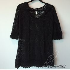 MONORENO black lacy beach coverup Pre-owned, great condition, no holes or stains. This is a size small. 3/4 length sleeves. No material tag.  Measurements: underarm to underarm flat across is approximately 18 inches. Back of neck to bottom of hem is approximately 29 inches. Monoreno Dresses