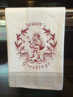 A personal favorite from my Etsy shop https://www.etsy.com/listing/474919282/vintage-embroidered-christmas-tea-towel