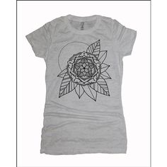 Women's Gypsy Flower Mandala Tee Sacred Geometry Tattoo Style T-Shirt (1,025 PHP) ❤ liked on Polyvore featuring tops, t-shirts, blue, women's clothing, tattoo t shirts, blue t shirt, lightweight t shirts, flower top and tattoo tee