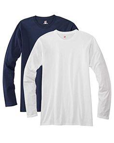 Hanes mens 4.5 oz. 100% Ringspun Cotton nano-T Long-Sleeve T-Shirt(498L)-NAVY/WHITE-2XL - http://www.darrenblogs.com/2016/12/hanes-mens-4-5-oz-100-ringspun-cotton-nano-t-long-sleeve-t-shirt498l-navywhite-2xl/