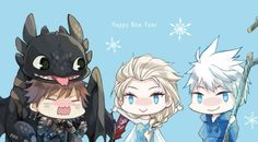 Jack x Elsa with Hiccup and Toothless.