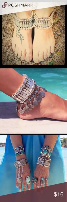 """Boho Anklet / Bracelet  Antique Silver tone bracelet / anklet. Actual item in 2nd and 4th photo. 9.5"""" long (including extender. Can be worn as a bracelet or an anklet. Coin bracelet / anklet shown in second photo is also available in my closet. ***NEW in package*** Jewelry"""