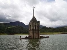 The Drowned Church of Potosi - A town church once nearly submerged by the damming of a river is now hauntingly visible as the water recedes