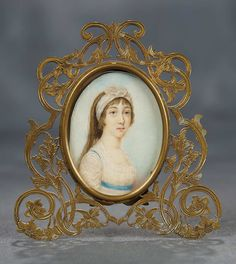 """""""The Voyage Continues"""" - Saturday, January 7, 2017: 287 19th Century Miniature Painting """"Lady with Head Scarf"""" in Ornate Brass Frame"""