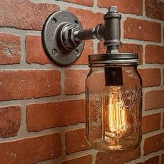 Industrial Lighting Lighting Mason Jar Light Steampunk Lighting Industrial Light Sconce Light Wall Light A handmade industrial chic sconce that is sure to add a truly charming accent to any home This unique and re-imagined blend of metal pipe fittings and Rustic Lamps, Rustic Lighting, Unique Lighting, Industrial Lighting, Lighting Ideas, Lighting Design, Farmhouse Lighting, Lighting System, Lampe Industrial