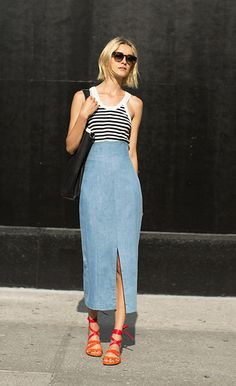 How to Wear a Denim Midi Skirt | StyleCaster waysify