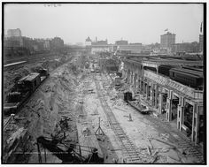 Excavations for Grand Central Station, New York City. 1908.