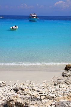 Seascape with white sand beach and turquoise sea on Antipaxos island Ionian #kitsakis