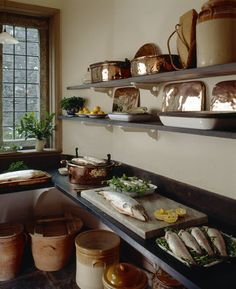 The fish larder at Lanhydrock I Pantry Bruinenberg Jones White Victorian House Interiors, Vintage Interiors, Victorian Homes, Folk Victorian, Copper Kitchen, Old Kitchen, Kitchen Pantry, Old Country Houses, Victorian Farmhouse