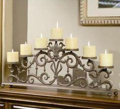 Fleur De Lis Candelabra Spi Home Candleholders Candle Holders Home Decor Fireplace Candle Holder, Candles In Fireplace, Rustic Candle Holders, Rustic Candles, Candle Holder Decor, Pillar Candles, Fireplace Mantel, Chandeliers, Chandelier Bougie