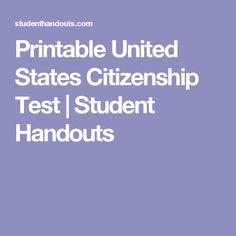 Free Printable American Naturalization Test With Answers U S A