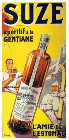 Suze - l'apéritif à la gentiane - 1931 - illustration de M. Carney - Vintage Food Posters, Vintage Advertising Posters, Vintage Advertisements, Ads, Pub Vintage, Pin Up Posters, Wine Design, Old Paper, Vintage Recipes