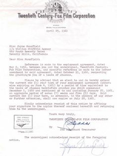 Jayne Mansfield signed contract
