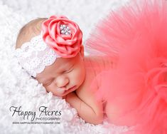CORAL TUTU....newborn tutu, baby tutu with vintage headband, newborn photography prop.....size nb-24month available on Etsy, $34.95