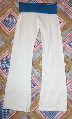 8730b2528f Moda International White Yoga Pants Blue Folder Over Top Size Medium  #ModaInternational #PantsTightsLeggings Blue