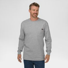 Dickies Men's Big & Tall Cotton Heavyweight Long Sleeve Pocket T-Shirt- Heather Gray Xxl Tall
