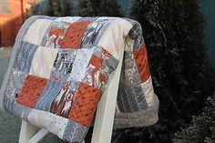 BABYpatchwork / Detská deka oranžová sivá srnka 85x125