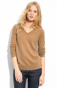 Camel v neck cashmere sweater. Love it!