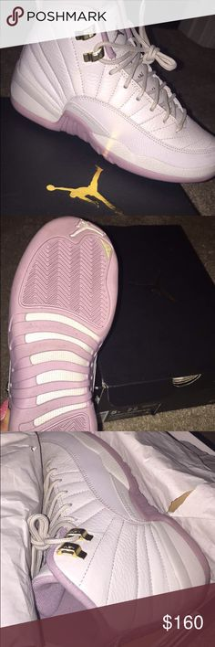 AIR JORDAN GS HEIRESS PLUM FOG 12s Excellent condition . Grade school Air Jordan Plum Fog 12 . Worn only ONCE . Also comes with box Jordan Shoes Sneakers