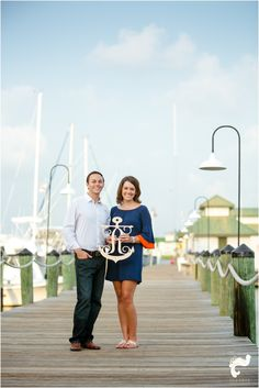 Naples city dock nautical themed engagement