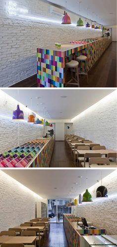 Architect Alan Chu designed the transformation an empty space into a bright and colorful tea lounge and store named The Gourmet Tea, located in Sao Paulo, Brazil.