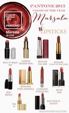 Pantone 2015 Marsala lipsticks