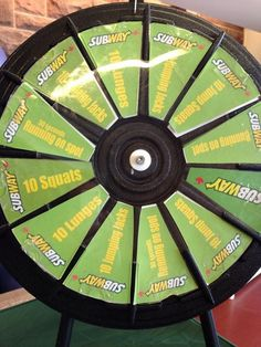 The Subway Commit to Fit Wheel is ready to go. What will you spin for your prize? Buy this Prize Wheel at http://PrizeWheel.com/products/tabletop-prize-wheels/tabletop-black-clicker-prize-wheel-12-slot/.