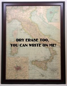 Magnetic Dry Erase Map of Italy - Etsy - 4 Magnets of sights in Italy included - For those that don't like corkboard and pins