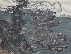 YANG JIECHANG (B. 1956) Tale of the 11th Day – Violet Cloud  Ink and mineral colours on silk : 2009 95.5 x 121.5 cm. (37 ½ x 47 7/8 in.)
