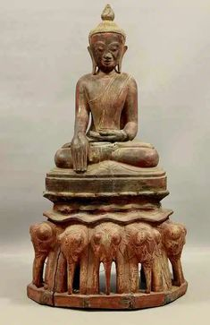 50cm Tall Distressed Finish Hand Carved Wooden Buddha Statue
