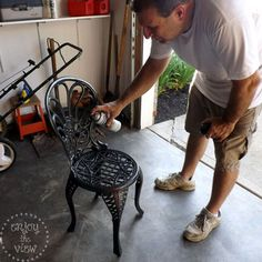 painting wrought iron furniture. {enjoy The View} | How To Paint Wrought Iron Tutorial Painting Furniture C