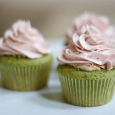 Impossibly delicious Green Tea Cupcakes with Strawberry Custard filling and Strawberry Buttercream!