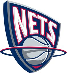 New Jersey Nets Basketball Primary Logo (1998) - Nets in white on a blue shield with a silver ball below passing through a red hoop