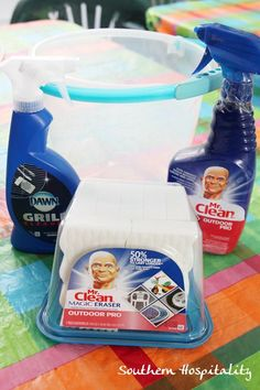 Products to clean outdoor grill - Dawn Grill Cleaner, Mr. Clean Magic Eraser Outdoor Pro, and Mr. Mr Clean, Clean Grill, Grill Cleaner, Keep It Cleaner, Cleaning Recipes, Cleaning Hacks, Outdoor Barbeque, Bbq, Organization Hacks