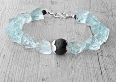 Raw Quartz and Lava Rock Necklace Aqua Blue & by SunSanJewelry
