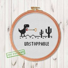 Unstoppable Trex PDF Cross Stitch Pattern  Easy Beginners Mini