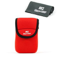 MegaGear Ultra Light Neoprene Camera Case Bag with Carabiner for Nikon Coolpix S7000 Nikon Coolpix L32 Digital Camera Red * Be sure to check out this awesome product.